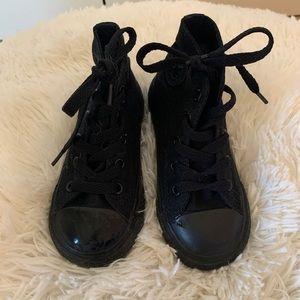Black high top Converse shoes toddler girl boy 8